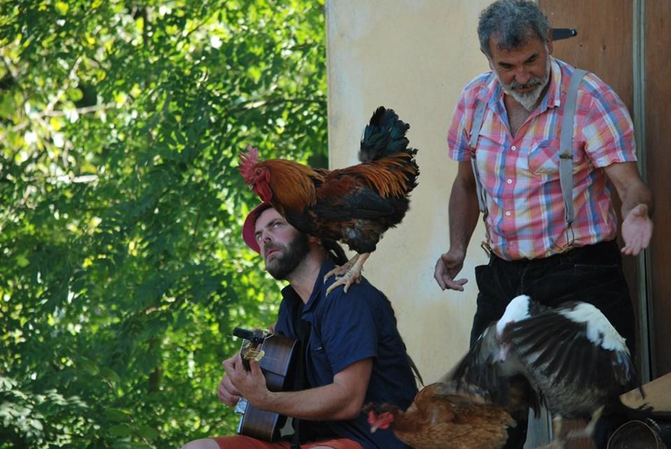 Le troubadour Fanfare rencontre le coq de son pépé fermier