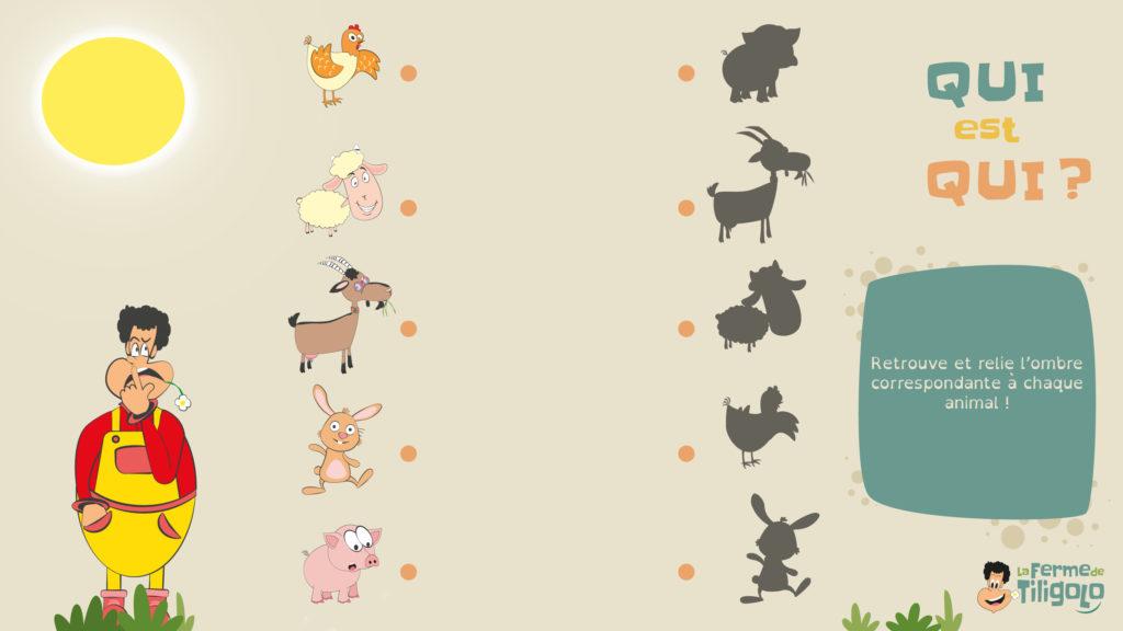 Le jeu des ombres des animaux de la ferme